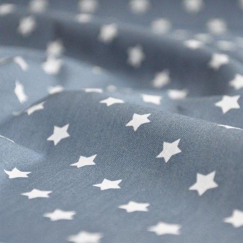 Tkanina bawełniana białe gwiazdki na granatowo-szarym