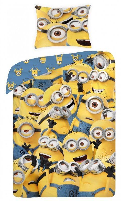 Żółta pościel dziecięca 140x200 z Minionkami