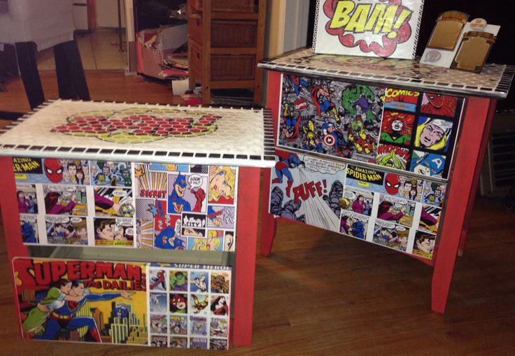 Super Heroes Mosaic end tables