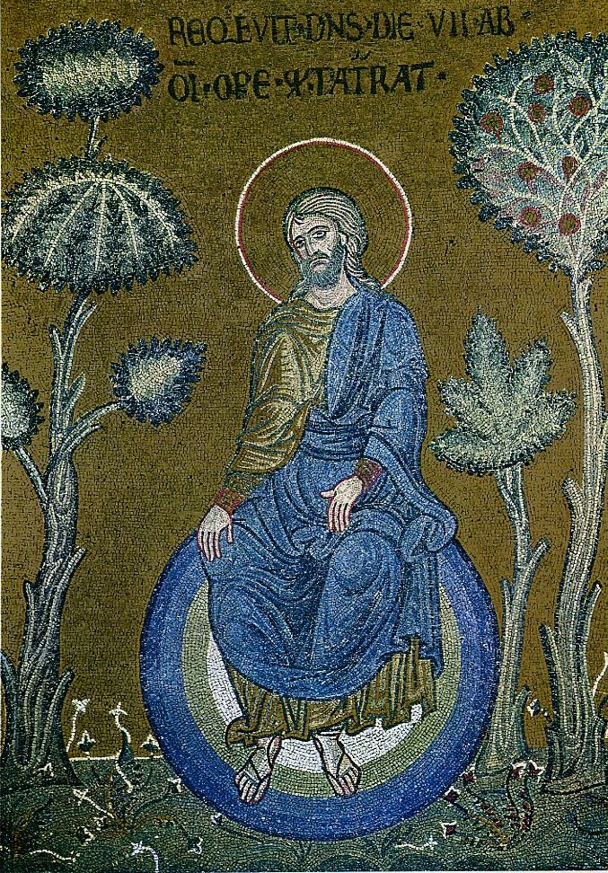 God resting after creation - Christ depicted as the creator of the world, Byzantine mosaic in Monreale, Sicily. Depictions of God the Father became prevalent only by the 15th century, and Jesus was often shown as a substitute before then.  http://en.wikipedia.org/wiki/Pre-existence_of_Christ