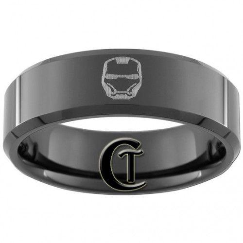 8mm Black Tungsten Carbide Band Beveled IRON MAN Ring Sizes 5-15 | CustomTungsten - Jewelry on ArtFire