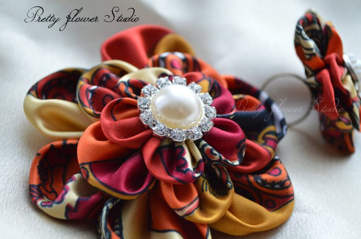 SALE! The price has been lowered from 22! Colourful--Kanzashi Flowers Brooch HairClip & Ring set - pinned by pin4etsy.com