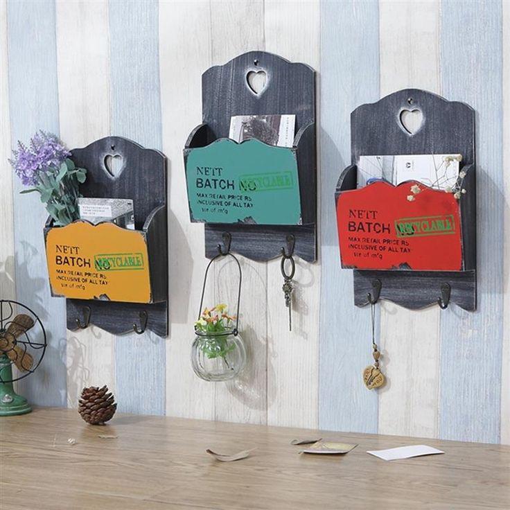 Carta de madeira do Vintage caixa de organizador suporte de parede de estilo Postoral chave de gancho de prateleira decoração 3 cores em Armazenamento & organização de Casa & jardim no AliExpress.com | Alibaba Group
