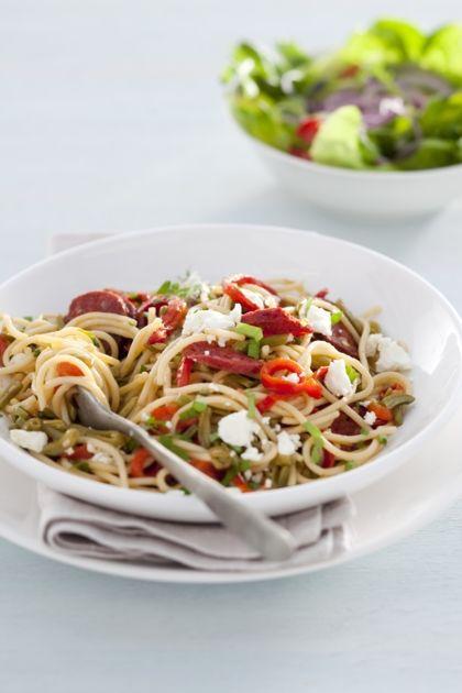 Recept voor spaghetti met chorizo en geitenkaas