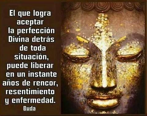 El que logra aceptar la perfeccion Divina detras de toda situacion, puede liberar en un instante anos de rencor, resentimiento y enfermedad. -Buddha