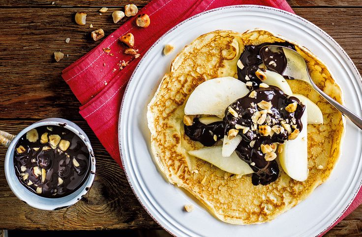 Pear and chocolate sauce and hazelnuts recipe for Pancake Day