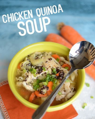 Chicken Quinoa Soup- hearty and gluten free! via FitFoodieFinds.com