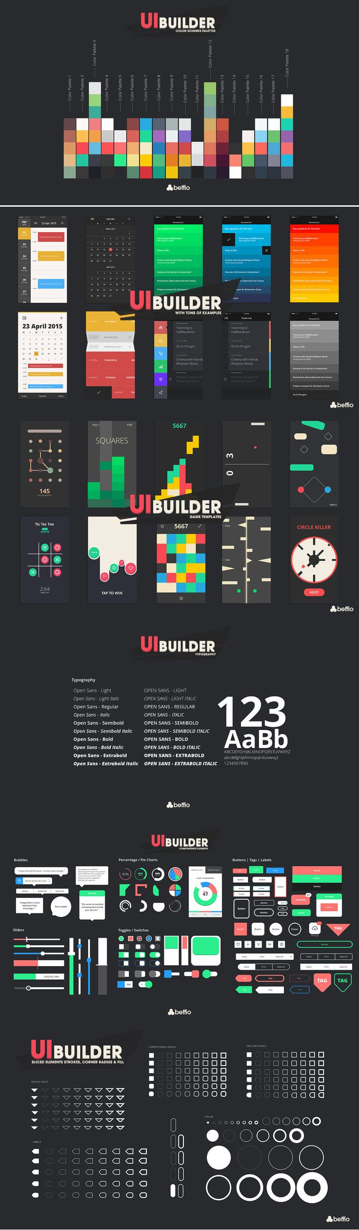 UI - Builder Do you need core UI Elements to start building your first Game or App? Are you a professional and want to speed up your workflow? No matter your experience, we have EXACTLY what you need!  » Unity Awards 2015 Finalist »200+ Sliced Elements | 130+ Pixel Perfect Icons | 1 Font with 10 Styles | 70+ drag'n'drop components | 30+ Classic App. Unity Game Asset.