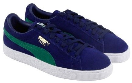 Puma Suede Classic + Blue Depths Verdant Green Mens Lace Up Sneakers