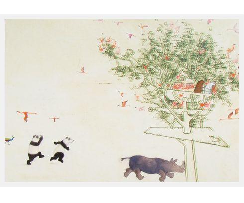 Poster de boomhut, neushoorn loopt tegen boom van Marije Tolman