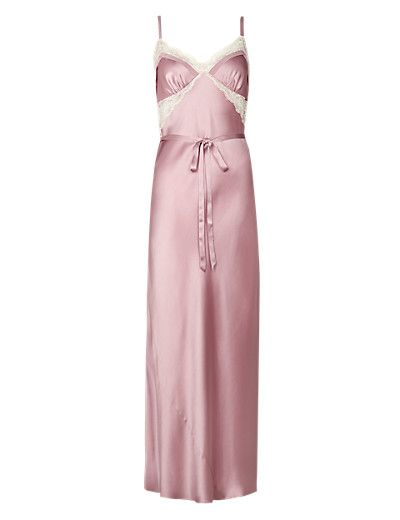 Pure Silk Long Nightdress with French Designed Lace Clothing