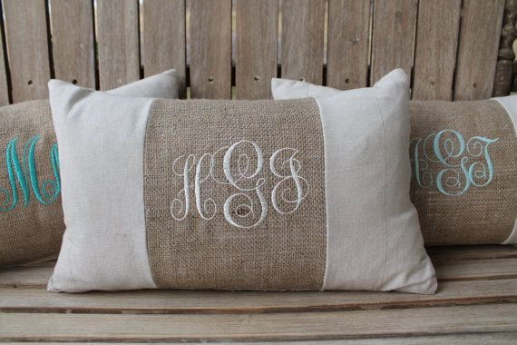 Monogrammed Burlap Accent Lumbar Pillow by PocketOfPresh on Etsy, $19.99
