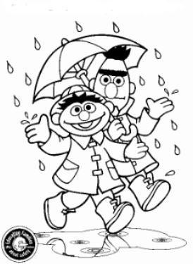 kleurplaat Bert en Ernie, in de regen Kids-n-Fun