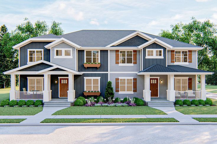 Plan 62563dj Two Family Craftsman With Alley Garage In 2020 Family House Plans Duplex House Plans Craftsman House