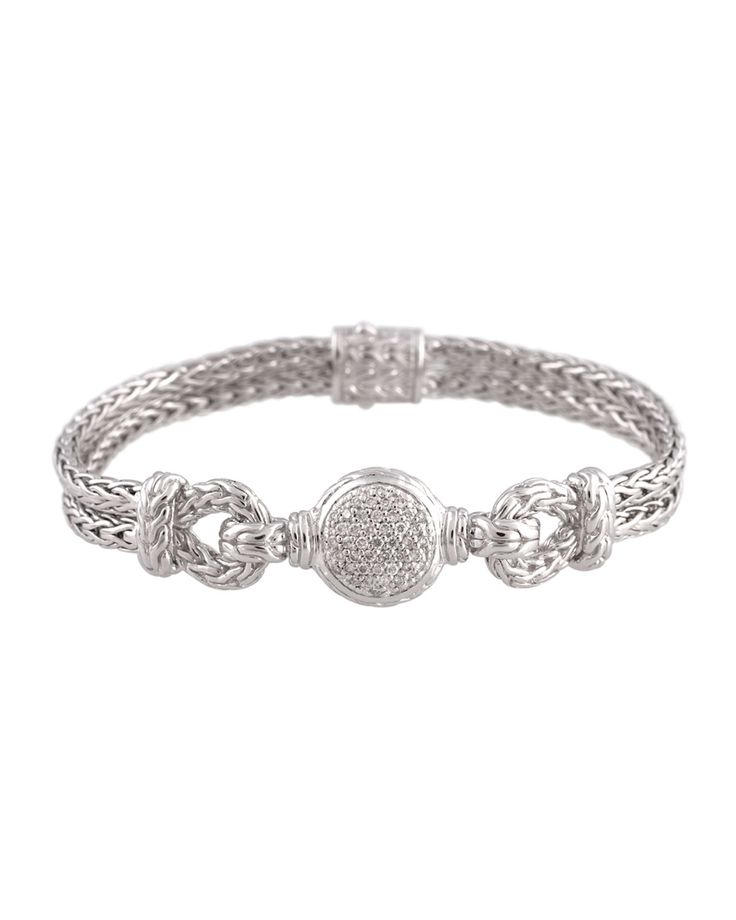John Hardy Silver Chain Loop Bracelet with Diamond Pave, Size M, Women's