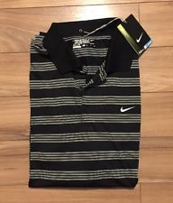 Nike DRY FIT Golf Polo Shirt Black White MEN'S XL | eBay
