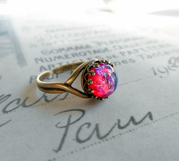 Mexican Opal Dragon's Breath Brass Ring by CandiSuesCreations, $22.00
