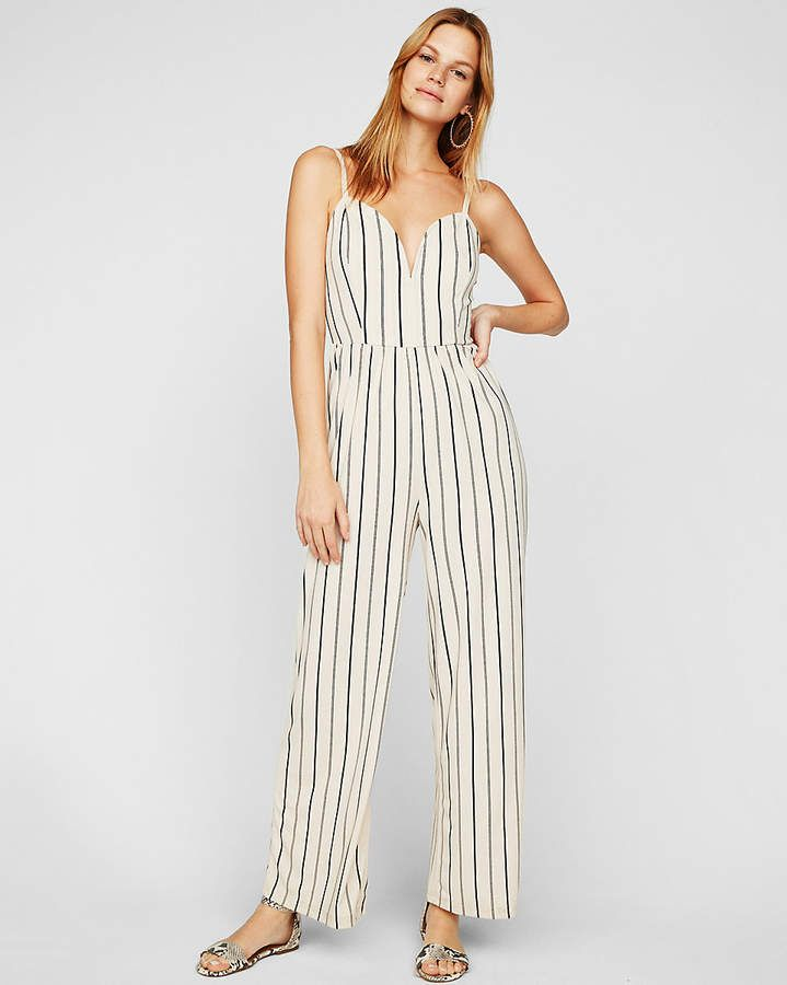 71a8bd81d6 Express Petite Striped Wide Leg V-Wire Jumpsuit