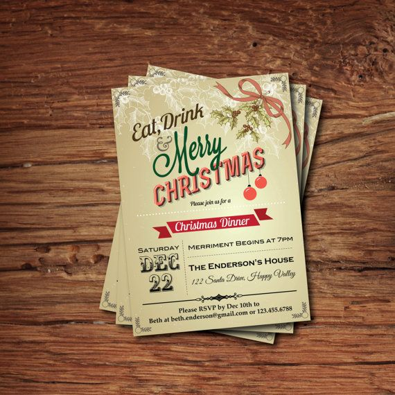 30 Best Christmas Invitations Images On Pinterest Christmas   Printable  Dinner Invitations  Printable Dinner Invitations