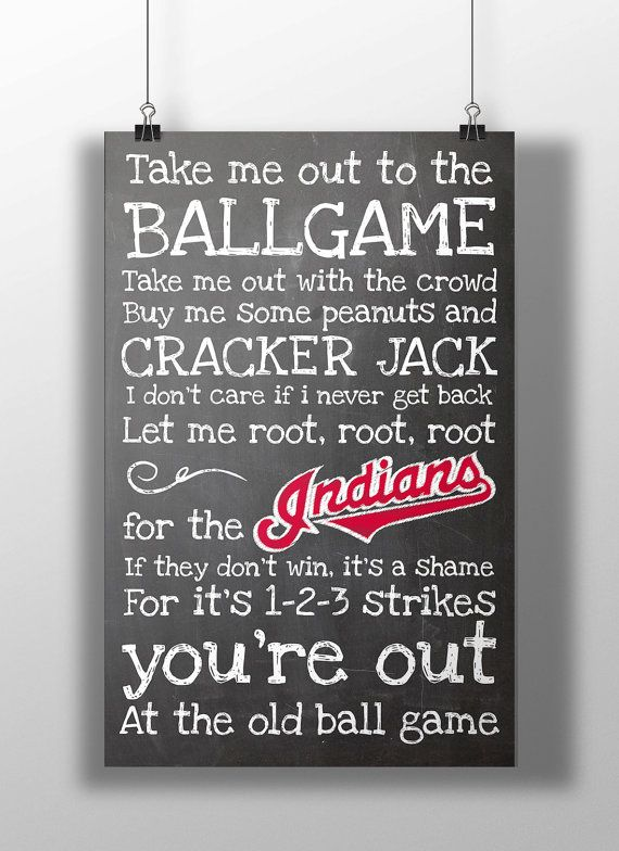 Cleveland Indians Take Me Out to the Ballgame by BigLeaguePrints, $12.00