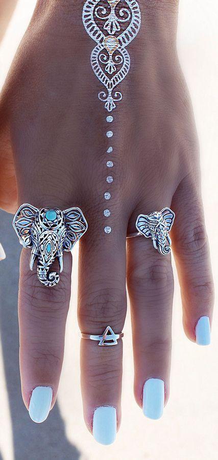 Love those boho elephant rings!