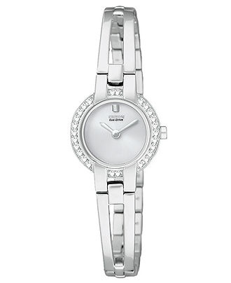 Eco-Drive Watch..fueled by light so no battery needed. Stainless Steel with Swarovski Crystals. Beautiful.