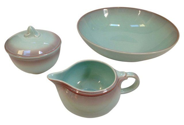 Midcentury Bowl, Covered Sugar & Creamer