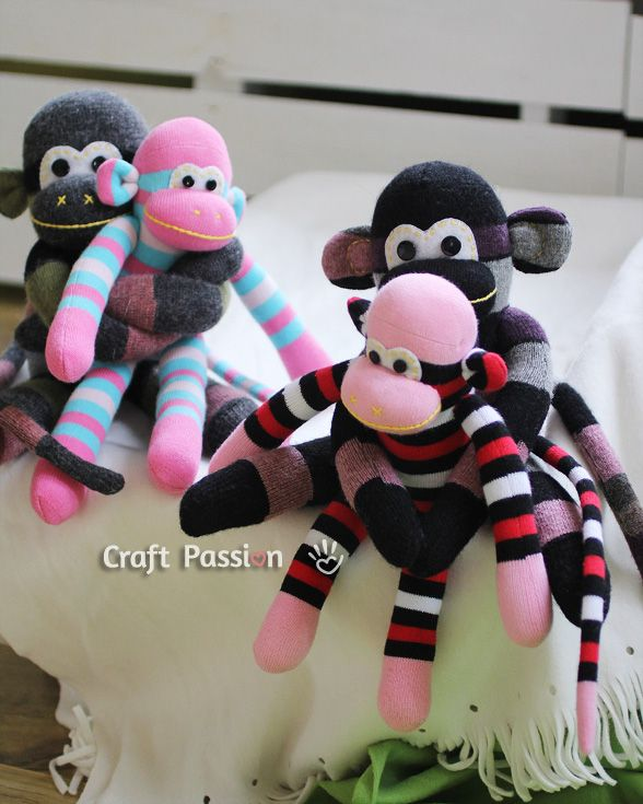 Sew | Sock Monkey | Free Pattern & Tutorial at CraftPassion.com