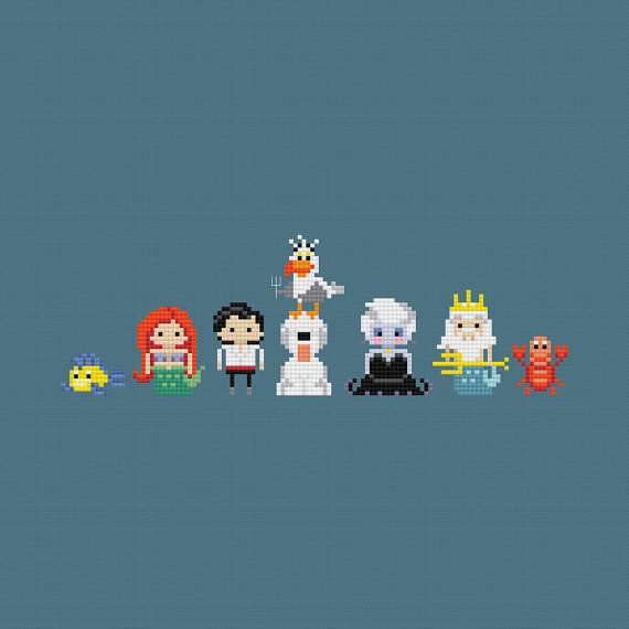 This mini version of The Little Mermaid crew. | 21 Disney Cross Stitch Designs You'll Want In Your Home