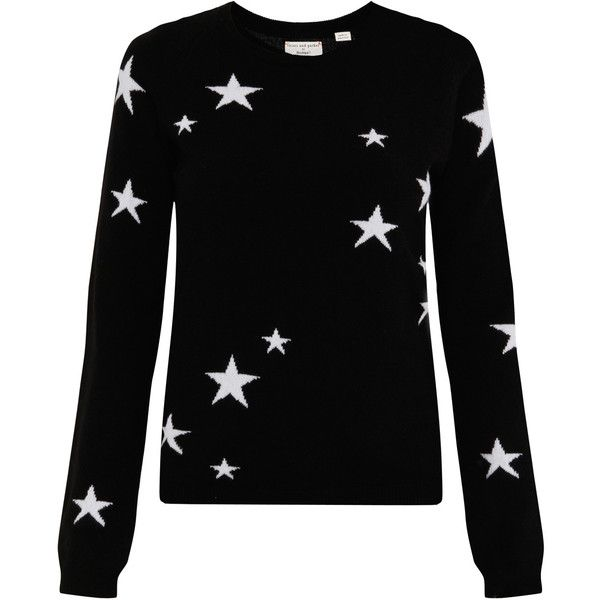 CHINTI & PARKER Exclusive Star Intarsia Cashmere Jumper (790 AUD) ❤ liked on Polyvore featuring tops, sweaters, shirts, jumper, sweaters/long sleeves, elbow patch sweater, cashmere shirt, long sleeve sweaters, jumper shirt and long sleeve shirts