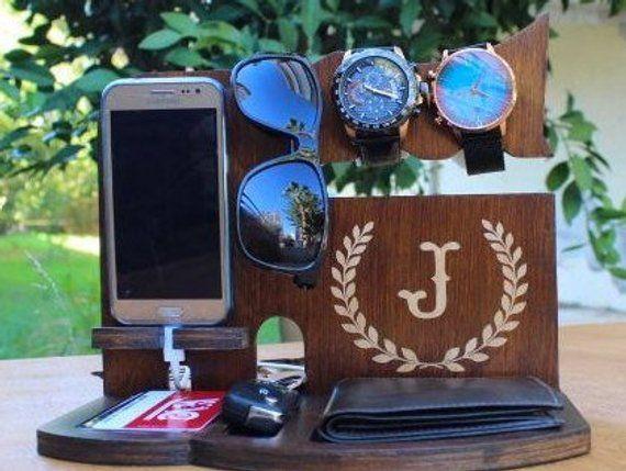 Mens Personalized Iphone Wallet Apple Watch Stand Custom Anniversary gift gift for Boyfriend Birthda
