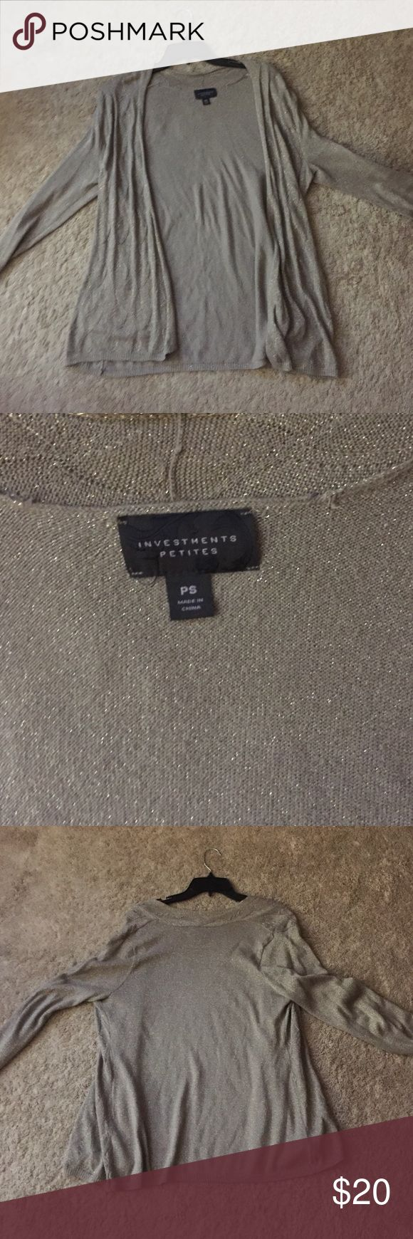 An Investments Petite Sparkly Gold Cardigan It is an investments sparkly gold cardigan. It is a petite size small and it was purchased from Dillard's. It has been worn a handful of times but it still remains like brand new. Investments Other