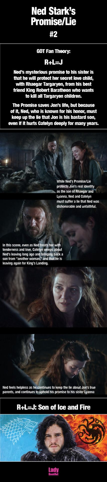 Jon is the son of ice and fire! GOT Fan Theory: R+L=J. Ned's mysterious promise to his sister isthat he'll protect her secret love child,son of Rhaegar Targaryen, from his BFF King Robert Baratheon who wantsto kill all Targaryen children. The Promise saves Jon's life, but becauseof it, Ned, who's known for his honor, mustkeep up the lie that Jon is his bastard son,even if it hurts Catelyn deeply. #R+L=J #GOT #ASOIAF #jonsnow #nedstark #lyannastark #sonoficeandfire