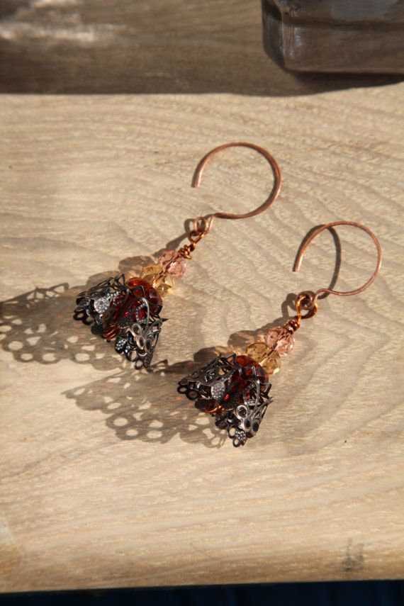 Crystal unique  lagenlook handmade copper earrings by alfiyaV