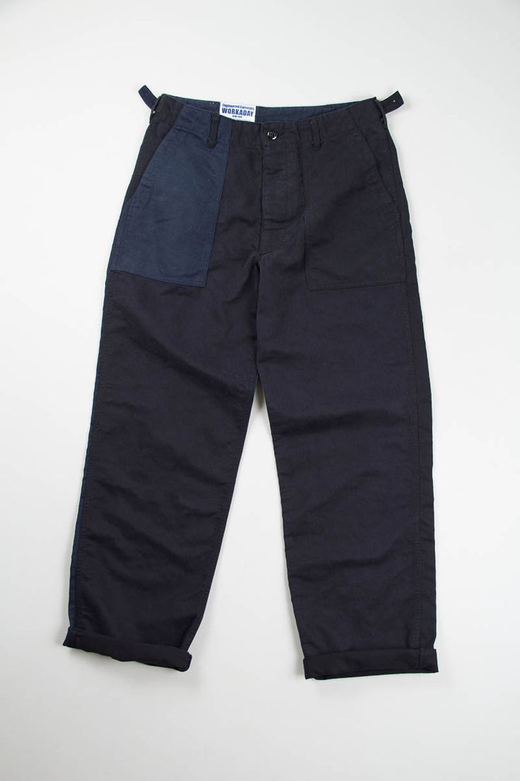 Navy/Black Combo Bedford Cord Washed Fatigue Pant | Engineered Garments Workaday