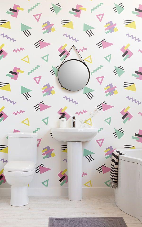 Papel Pintado Geometrico Verde Menta Rosa Blanco Y Amarillo In