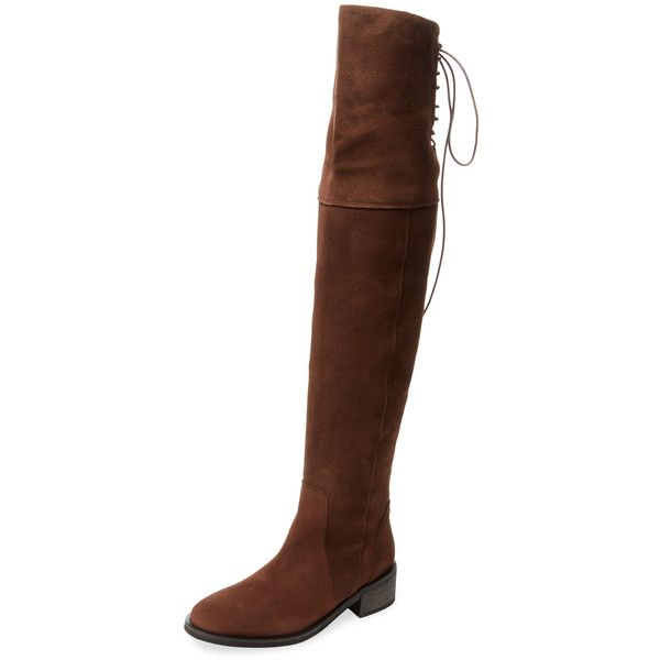 Marabelle Women's Etamo Suede Over The Knee Boot - Brown - Size 39 ($159) ❤ liked on Polyvore featuring shoes, boots, brown, brown thigh high boots, thigh high lace up boots, brown over-the-knee boots, brown suede boots and brown boots
