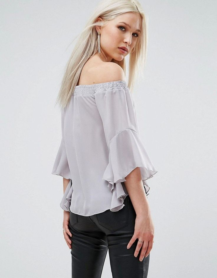 AX Paris Bardot Top With Flute Sleeves - Silver