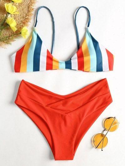 1faa59d40d Striped High Leg Cami Bikini in 2019 | Me | Bikinis, Swimwear, Swimwear  fashion