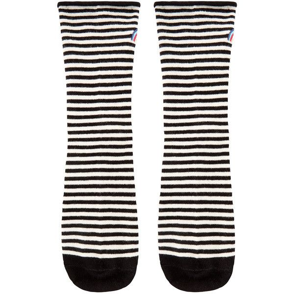 Accessorize Stripe Sock With Embellished Rainbow (£5.56) ❤ liked on Polyvore featuring intimates, hosiery, socks, embroidered socks, striped socks, black and white stripe socks, black and white striped socks and rainbow striped socks