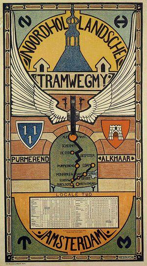 Vintage: Reizen-Stad-Land  ~H.P. Berlage, Affiche van de Noordhollandsche Tramweg Maatschappij~