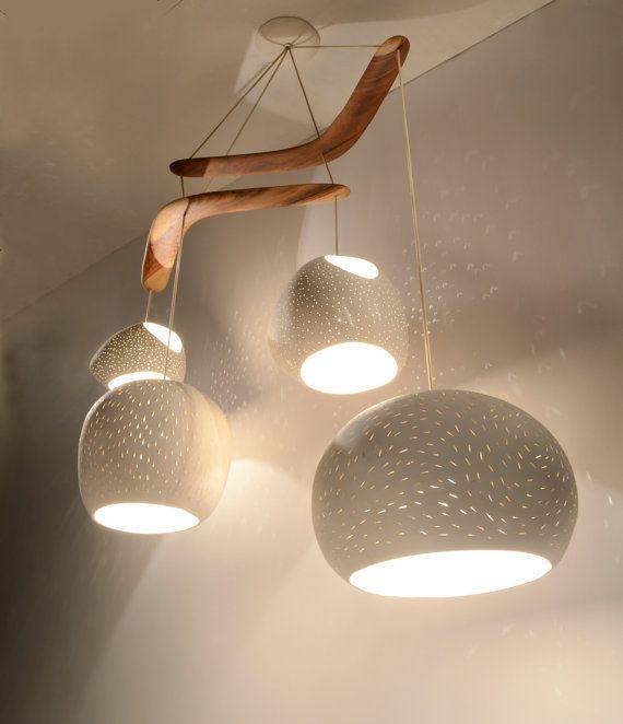 Ceiling lighting: CLAYLIGHT BOOMERANG XL - Four Pendant Chandelier light.