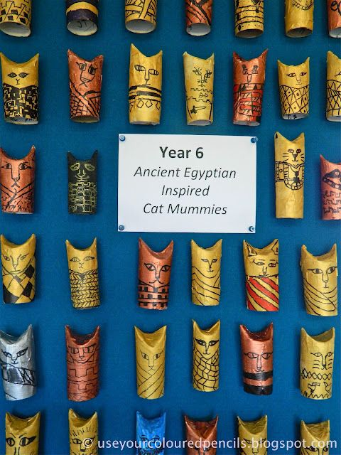 Egyptian cat mummies with tp rolls - doodling on toilet paper rolls - Egyptian unit