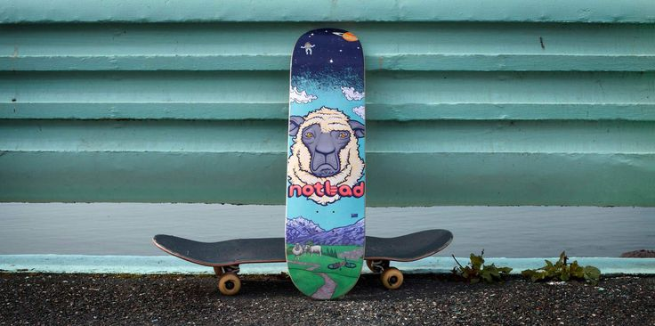 Not Bad - Skateboard. We don't have the proof to substantiate the claim, but it's quite possible that Not Bad is the first ever mountain bike film to have a sheep on the poster. And why the heck not? Sheep are fun. They're from New Zealand. And they happen to fit on a skate deck really well – The most coveted item at the world premiere in Whistler.