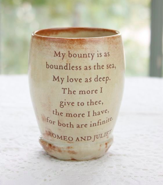 Shakespeare S Romeo And Juliet Love Quoted Ceramic By Taosgar 24 00