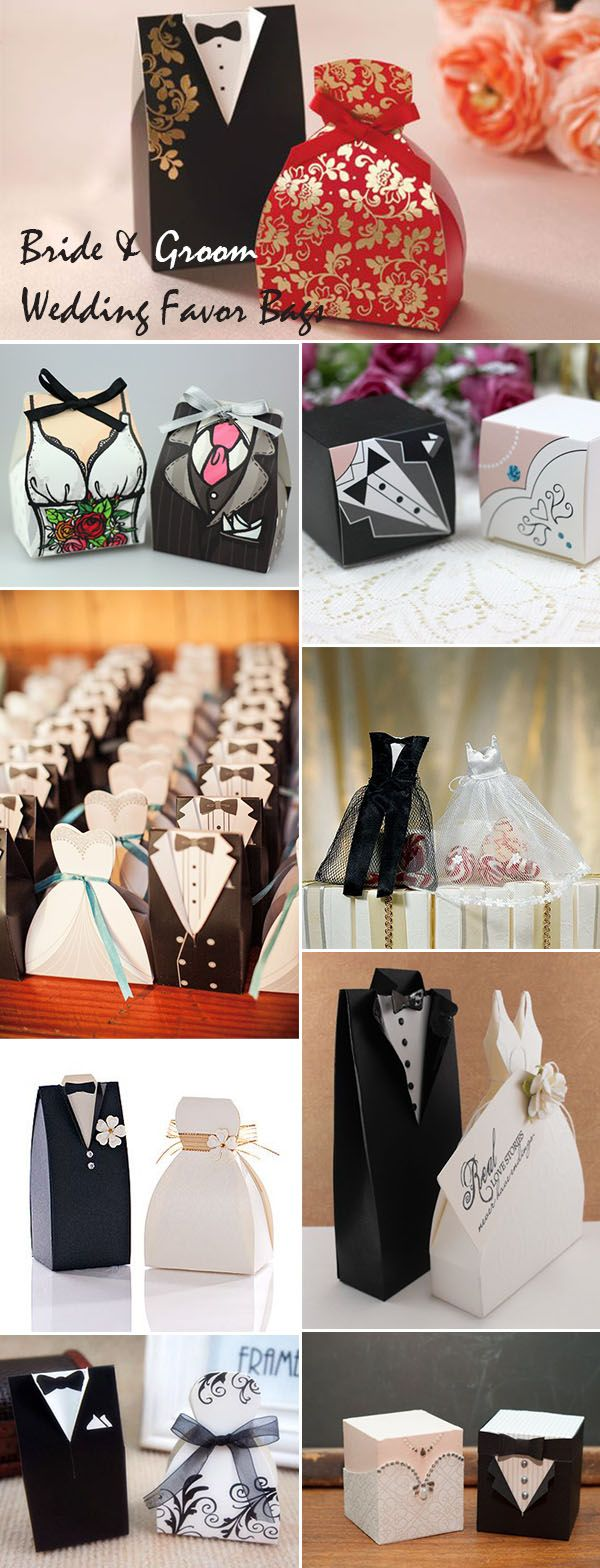 lovely bride and groom wedding favor bag ideas