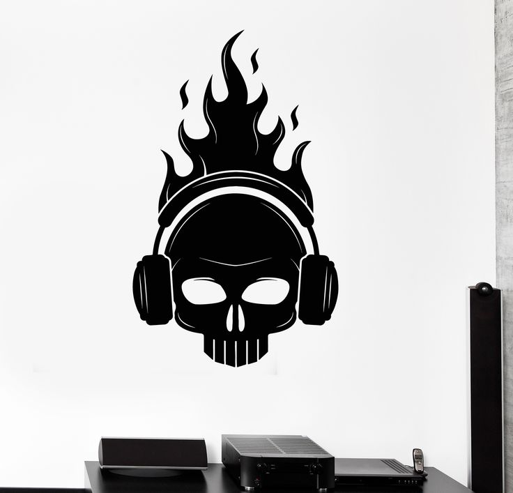 Vinyl Wall Decal Skull Headphones Fire Musical Decor Stickers (ig4413)