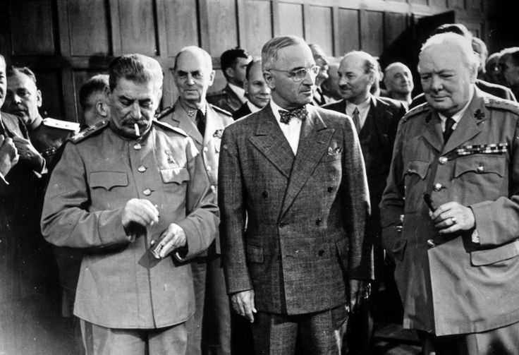 Joseph Stalin, Harry Truman, and Winston Churchill at the Potsdam Conference, during the summer of 1945.