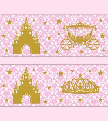 Pink Gold Nursery Wallpaper Border Princess Damask Wall Art Decal #decampstudios