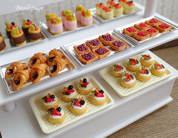 Dollhouse Miniature Food Pastry High Tea Patisserie Tarts Bakery Cafe Cake shop Party Fake Food (see item details)